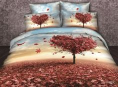 Trees 3d bedding sets,4pcs duvet cover set 3d Bedding Sets, Comforter Sets, Floral Bedding, Linen Bedding, Cotton Bedding, Bed Linen, Tree Print, Bed Design, Duvet Cover Sets