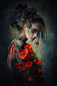 Shade Garden Flowers And Decor Ideas Dark Photography Woman Roses Flowers Surreal Creepy More At: Dark Art Photography, Creative Photography, Portrait Photography, Stunning Photography, Digital Art Photography, Fashion Photography, Makeup Photography, Photography Magazine, Editorial Photography