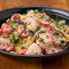 """Creamy Tomato Basil Zucchini """"Linguini"""" Recipe by Tasty"""