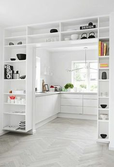 : I love how these shelves fit together so perfectly in this minimalist room . Hallway ideas I love how these shelves blend together so perfectly in this minimalist room I love how these shelv fit hallway homedecorcrafts homedecorikea homedecorwoo Built In Shelves, Built Ins, White Shelves, Open Shelving, Ikea Shelves, Door Shelves, Shelving Units, Closet Shelves, Shelving Ideas