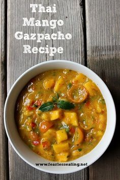 This refreshing Thai mango gazpacho recipe consists of lime juice,Thai basil, mint and tomatoes and makes for a perfect cold soup on a hot summer day.  #thairecipes #souprecip #coldsoup #summersoup #gazpacho #mangorecipes Seafood Recipes, Paleo Recipes, Asian Recipes, Soup Recipes, Ethnic Recipes, Lunch Recipes, Chilli Recipes, Seafood Soup, Paleo Meals