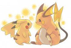 Pikachu and Raichu Pichu Pikachu Raichu, Cute Pikachu, Cute Pokemon, Pokemon Vs Digimon, All Pokemon, Pokemon Stuff, Pikachu Mignon, Pikachu Evolution, Tous Les Pokemon
