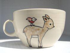 Handmade Ceramic Soup Mug-Woodland Animals Mug- Deer, Fox and Bird- Cafe Style Mug- Oversized Ceramic Coffee Mug
