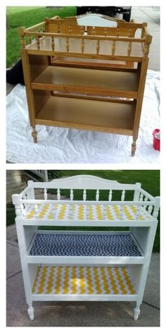 Before and after: I bought a wooden changing table at a garage sale, painted it white and covered the shelves with fabric to match nursery!