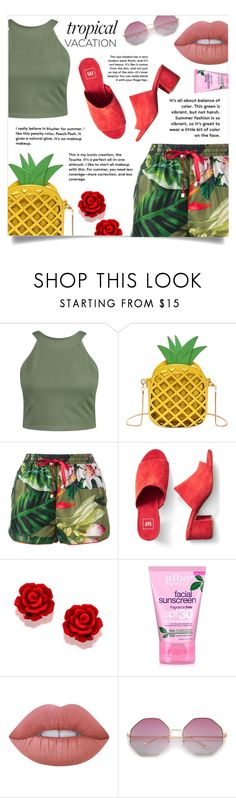 """Let's Vacation!"" by hnfaulia ❤ liked on Polyvore featuring Boohoo, F.R.S For Restless Sleepers, Gap, Alba Botanica and Lime Crime"