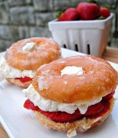 Strawberry And Cream Cheese Donut Sandwich