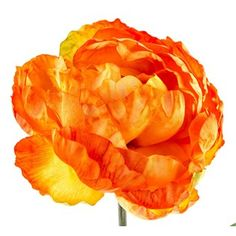 """Add chic charm and color to your favorite rooms with this Orange Peony! This gorgeous, fluffy peony features shades of orange, a yellow center, and green leaves and stem. Add this colorful stem to a bouquet, a floral arrangement, home decor pieces and more!    Stem contains 1 bloom.    Dimensions:      Stem Length: 16 1/2""""    Total Length: 27""""    Bloom Width: 6"""""""