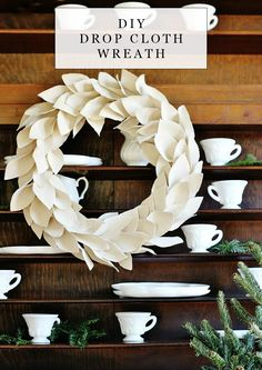 Imaginative Halloween Costumes - The Best Way To Be Artistic With A Budget How To Make An Easy And Quick Drop Cloth Wreath Project From The Tutorial First Listed On Thistlewood Farms Holiday Crafts, Christmas Wreaths, Christmas Crafts, Christmas Decorations, Christmas Ideas, Winter Wreaths, Outdoor Decorations, Spring Wreaths, Christmas Sewing