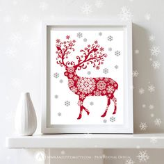 "Printable Christmas Decor Poster Print  - Deer Silhouette Art Print  -  Wall Art  Christmas Decoration - 8,5"" x 11"" Digital INSTANT DOWNLOAD..."