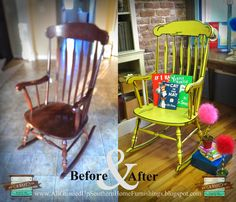 Uniquely Grace: Illustrated 3D Rocking Chair - Chalk Painted Furniture Flip! Looks like it came right out of a book!