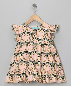 Ava Loves Olli Pink/Tan Ruffly Sleeve Full Dress by lolibears.com for $39.98