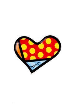 RED/YLW DOT HEART teabag holder $7.50