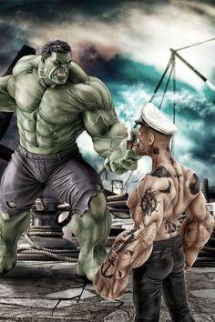 The Incredible Hulk Vs- Popeye the Sailor. Yep, Hulk got stomped. Hulk Marvel, Marvel Dc Comics, Bd Comics, Marvel Art, Marvel Heroes, Avengers, Aquaman Comics, Cartoon Cartoon, Cartoon Kunst