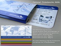 """Einladungskarte Geburtstag """"Boarding Pass"""" + Bild! von 1001karte auf DaWanda.com"""