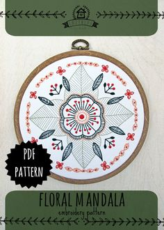 FLORAL MANDALA pdf embroidery pattern, circular flower, embroidery design, gifts for stitchers, embroidery hoop art, by cozyblue on etsy