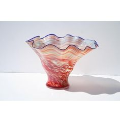 White Walls Hand-blown Gradient Glass Vase ($99) ❤ liked on Polyvore featuring home, home decor, vases, red, red glass vase, hand blown glass vase, white vase, colored vases and white home accessories