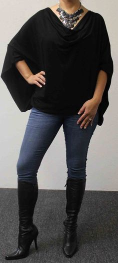 Free Shipping Adorable Soft & Comfortable Magic Plus size Top/Tunic OSFA in BLACK, will fit upto 3XL