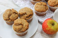 Apple Muffins! Gluten free, dairy free and egg free low sugar healthy snack or breakfast muffins!!