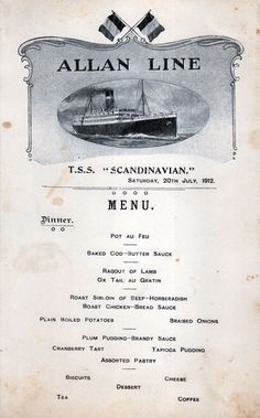 Dinner Menu Card from the T.S.S. Scandinavian of the Allan Line dated 20 July 1912
