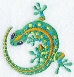 Caribbean Lagarto Lizard Gecko Embroidered by EmbroideryEverywhere Sewing Machine Embroidery, Embroidery Applique, Embroidery Stitches, Emblem, Janome, Hand Towels, Etsy, Needlework, Weaving