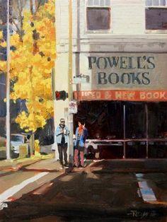 Powells Books Portland city oil painting by Robin Weiss - Original Fine Art for Sale - © Robin Weiss