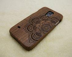 Mandala phone case, Wood Galaxy S5 case, Samsung Galaxy S5 case, Natural Wood case, mandala, laser engraving, real wood, Walnut
