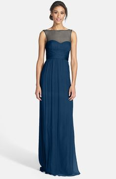 """OMG I think this is perfect  Illusion Yoke Crinkled Silk Chiffon Gown Nordstrom """"French Blue"""" $310"""