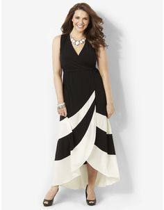 Love it!! Striped Noir Maxi | Catherines