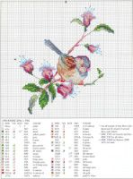 Free bird and flowers cross stitch chart Funny Cross Stitch Patterns, Cross Stitch Love, Cross Stitch Needles, Cross Stitch Animals, Cross Stitch Flowers, Cross Stitch Designs, Cross Stitching, Cross Stitch Embroidery, Christmas Embroidery Patterns