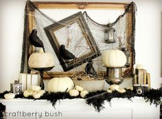 Halloween mantle with Ravens
