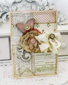 This card contains article xplaining what shabby chic means to this designer and how she incorporates this into a card design