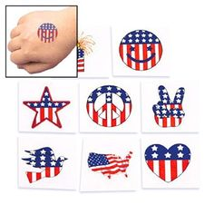 "Temporary Patriotic Tattoos (6 dz) by Fun Express. $4.94. Non-toxic. Easy to apply and remove. 1 1/4"" - 1 1/2"". 6 Dozen per set. Assorted designs. Temporary Patriotic Tattoos (6 dz)Patriotic tattoos let you show your American pride! These temporary tattoos make it easy to put some red, white and blue on, and it's just as easy to wash it off after that 4th of July or Memorial Day party. Great for Election Day or any day you want to show your patriotism. Non-toxic tattoos cover yo..."