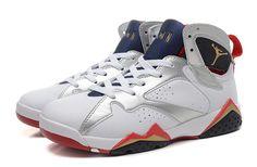 Nike Air Jordan Retro 7 White Silver Red Women Shoes