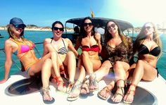 The ladies all wearing their Chameleon Swap Top Flip Flops on the boat in Ibiza