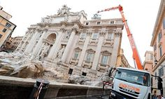 Trevi fountain inspected after pieces of top frieze fell off. Glad I am able to see it again next year, before the situation worsens.