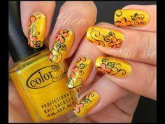Nail art tutoriel - fleurs en orange et jaunes (HD)