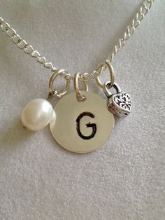Initial G with Saltwater Pearl Necklace by joytoyou41 on Etsy, $30.00