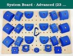"System Board - Advanced (23 Holds) | Climbing Holds | Blue. Hold Count: 23 -2 x 1/2"" rotatable crimps that offer 4 different angles of difficulty/slopiness/incut. -6 x 130 degree slopers. 90 degrees would be considered a flat hold. -6 x 2"" wide pinches @ 130 degree slopey. ( Top of hold can be used as a sloper too ). -6 x 3"" wide pinches @ 130 degree slopey. ( Top of hold can be used as a sloper too ). -2 small 2 finger pockets about 1-1/2 pads deep. -1 x small hold that can be spun for..."