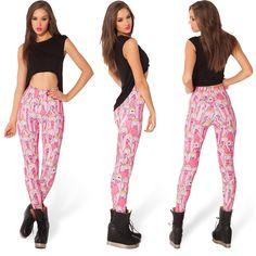 Beautiful Pink Cartoon Print Leggings