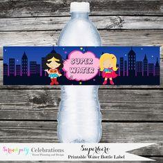 Instant Download DIY Printable Water Bottle Label: Superhero Girls -Water Bottle Label -Digital File -Baby Shower -Birthday -Wonderwoman by SerendipityPrintable on Etsy https://www.etsy.com/listing/183539072/instant-download-diy-printable-water