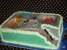 Skate Park Cake --- Interactive This was an awesome cake---thanks to CC members for their help. I baked a sheet with two ball pans. 7 Cake, Bowl Cake, Cake Icing, Cupcake Cakes, Park Birthday, Birthday Cakes, Birthday Ideas, Birthday Parties, Skateboard Party