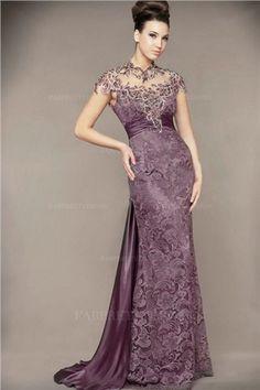 Trumpet/Mermaid High Neck Sweep/Brush Train Lace Evening Dress