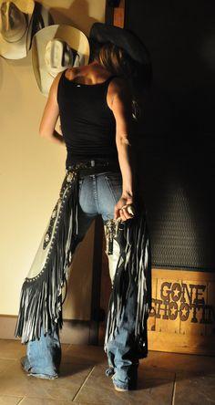 ♥ Cowgirls ♥ ❦ Kenda Lenseigne Low Rise Chinks | Sierra Custom Leather