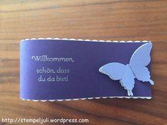 Stampin Up Servietten-Manschetten Serviettenring Schmetterling Glitzer Stampin Up Kommunion Taufe Hochzeit Tischdeko