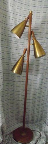 vintage retro danish modern midcentury cone floor lamp eames era
