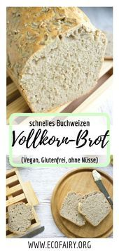 fast whole grain bread with buckwheat and sunflower seeds (vegan, gluten-free & without ba . - fast whole grain bread with buckwheat and sunflower seeds (vegan, gluten-free & without baking mix! Healthy Dessert Recipes, Vegan Snacks, Vegan Desserts, Baking Recipes, Brewers Yeast Benefits, Nutritional Yeast Recipes, Whole Wheat Bread, Vegan Bread, Buckwheat