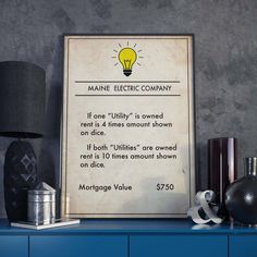 Monopoly inspired Maine Electric Company Poster Board Game