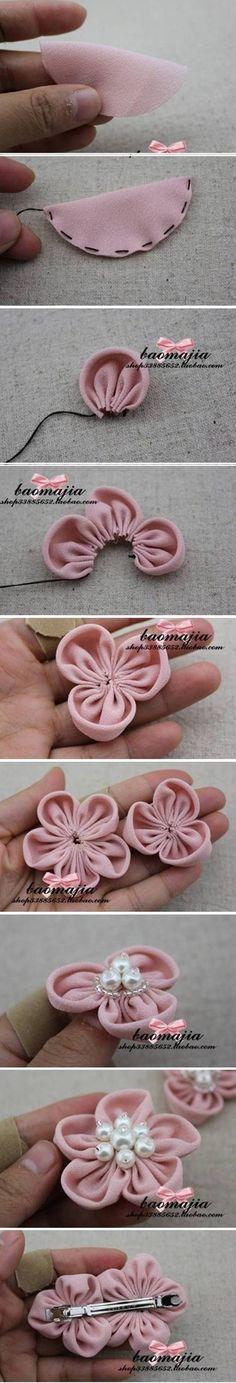 DIY Pretty Fabric Flower Hair Clip #craft #sewing #fabric_flower