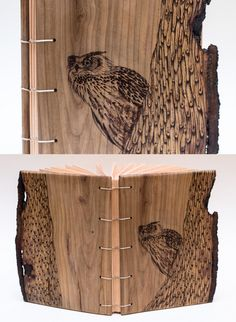eagle-owl journal Wooden Crafts, Bookbinding, Wood Design, Eagle, Owl, Journal, Wood Crafts, Eagles, Owls