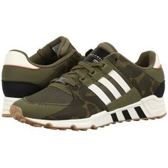 adidas Originals EQT Support RF (Olive Cargo/Off-White/Core Black)... (1.331.300 IDR) ❤ liked on Polyvore featuring men's fashion, men's shoes, men's sneakers, mens shoes, mens olive dress shoes, mens black running shoes, mens running sneakers and mens lace up shoes